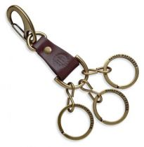 Harley-Davidson® Mens Antique Brass with Split Rings Brown Leather Key Fob