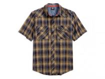 MEN WASHED PLAID GARAGE SHORT SLEEVE SHIRT