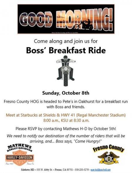 BOSS' BREAKFAST RIDE