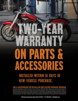 Two-Year Warranty on Parts & Accessories