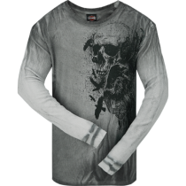 Men's Crow Skull Dyed Grey Long Sleeve Thermal