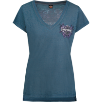 Women's Winter Ice Winged V-Neck Blue T-Shirt