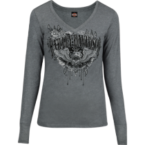 Women's Face Out Winged Skull Charcoal Long Sleeve
