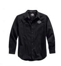 Men's Black Long Sleeve Logo Woven Shirt