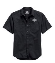 Men's Black Short Sleeve Logo Woven Shirt