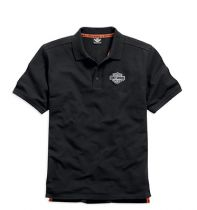 Men's Black Short Sleeve Knit Polo Shirt