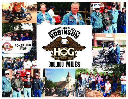 H.O.G. Mileage Club recognizes Richard & Helen Robinson for reaching 300,000 miles