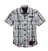 Men's Plaid Shirt, Black Label #1 Skull Woven Shirt