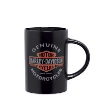 Bar & Shield Logo W/ Flames Ceramic Coffee Mug, Black