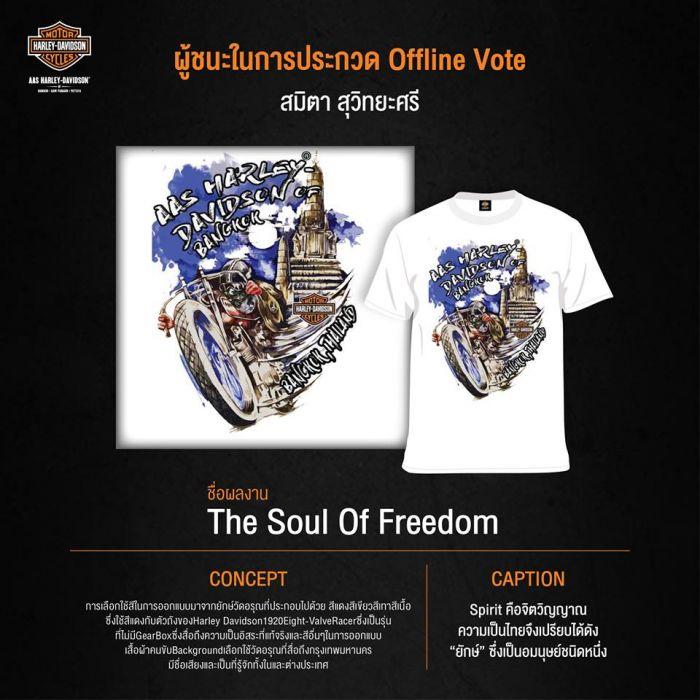 ผู้ชนะในการประกวด Offline Vote เจ้าของผลงาน : สมิตา สุวิทยะศรี ชื่อผลงาน : The Soul Of Freedom Concept : การเลือกใช้สีใรการออกแบบมาจากยักษ์วัดอรุณที่ประกอบไปด้วย สีแดง สีเขียว ทาสีเนื้อ ซึ่งใช้สีแดงกับตัวถังของ Harley-Davidson 1920 Eight-ValveRacer ซึ่