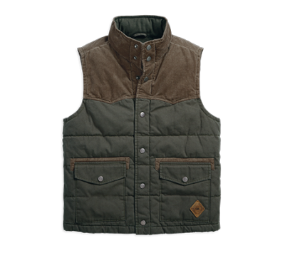 VEST-BL,OUT,FLANNEL,LINED,GREEN