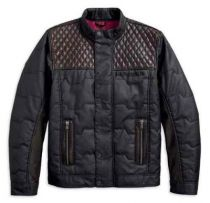 QUILTED LEATHER ACCENT JACKET