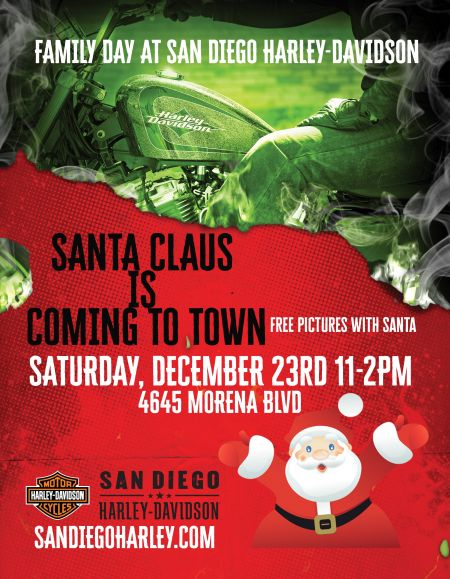 Santa is coming to San Diego Harley