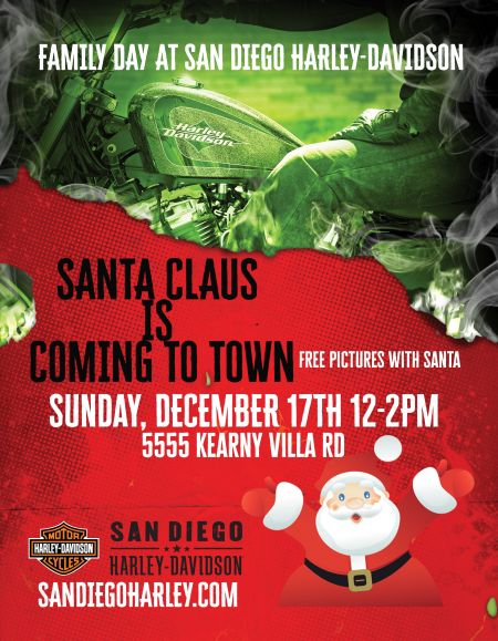 Santa is Coming to San Diego Harley at Kearny