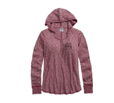 PULL OVER-HOODED,KNIT,RED