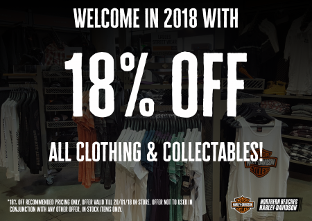 18% OFF ALL IN-STOCK CLOTHING & COLLECTABLES