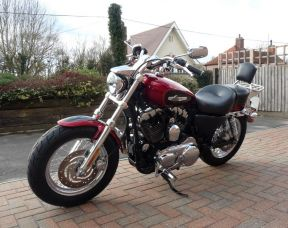 2012 XL1200C Sportster Custom 61 plate Two Tone Red