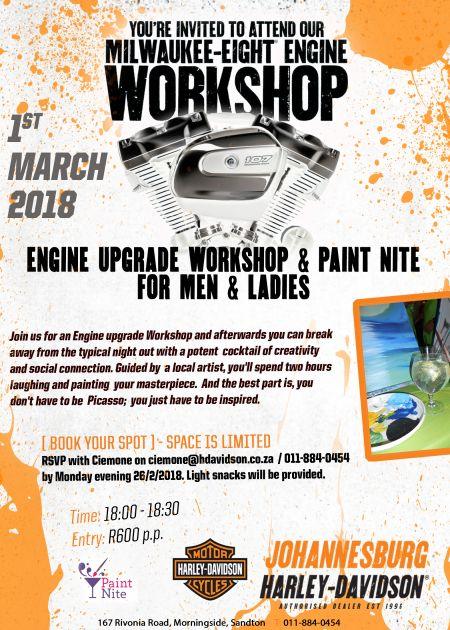 Engine Upgrade Workshop & Paint Nite 1 March 2018
