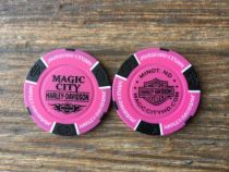 Neon Pink/Black Poker Chip