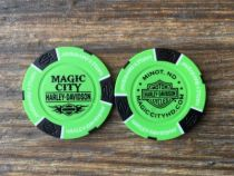 Neon Green/Black Poker Chip