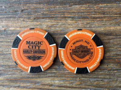 Orange/Black Poker Chip