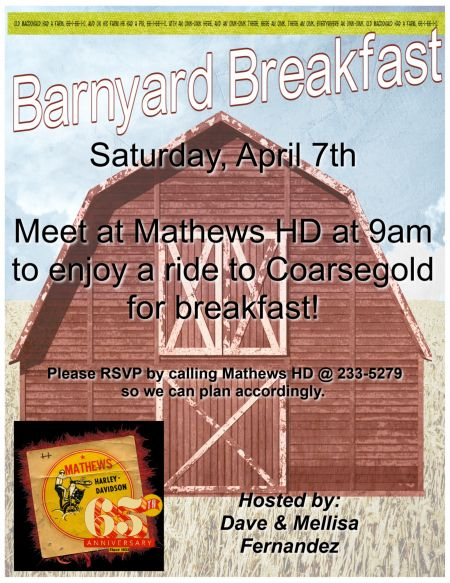 Barnyard Breakfast Ride