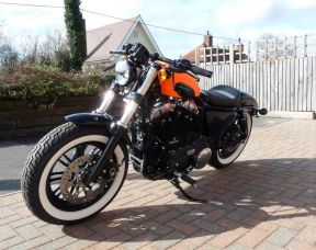 2018 XL1200X Sportster Forty-Eight in Asbo Orange, Full Stage One, Whitewalls