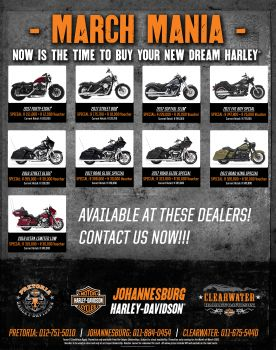 MARCH MANIA SPECIALS AT JOHANNESBURG HARLEY-DAVIDSON
