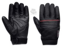 Mens Plexus Mesh with Contrast Piping Black Leather Full Finger