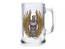 Mens Skull & Wrenches with Wings 15 oz. Beer Stein Glass