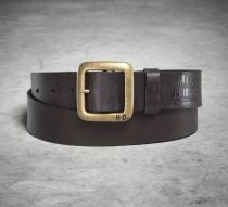 Mens Brass Finish Buckle Brown Leather Belt
