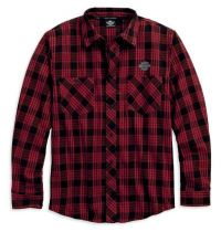 Mens B&S Logo Flannel Plaid Long Sleeve Woven Shirt