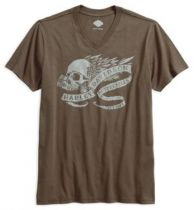Mens Slim Fit Winged Skull with Banner V-Neck Brown Short Sleeve T-Shirt