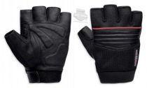 Mens Splice Mesh with Contrast Piping Black Leather Fingerless