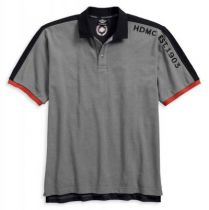 Mens Colorblocked with Contrasting Panels Grey Short Sleeve Polo