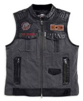 Men's Victor Textile & Leather Zippered Vest, Black