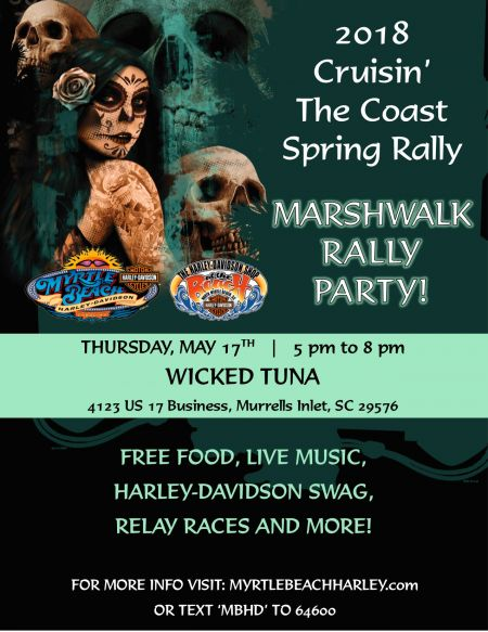 2018 Cruisin' the Coast Spring Rally Marshwalk Rally Party!