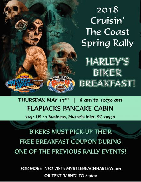 2018 Cruisin' the Coast Spring Rally  -  Harley's Biker Breakfast