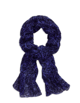 SCARF-WOVEN,FLOCKED,BLUE