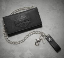 Harley-Davidson Men's Logo Tri-Fold Long Biker Wallet