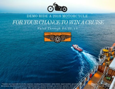 Demo Ride for a chance to WIN a Cruise