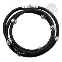 Harley-Davidson® Womens .925 Silver Multi Willie G Skull Leather Wrap Bracelet