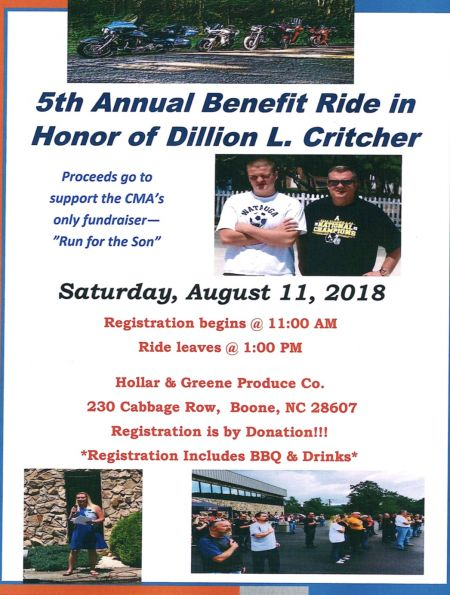 5th Annual Benefit Ride in Honor of Dillion L. Critcher for the CMA