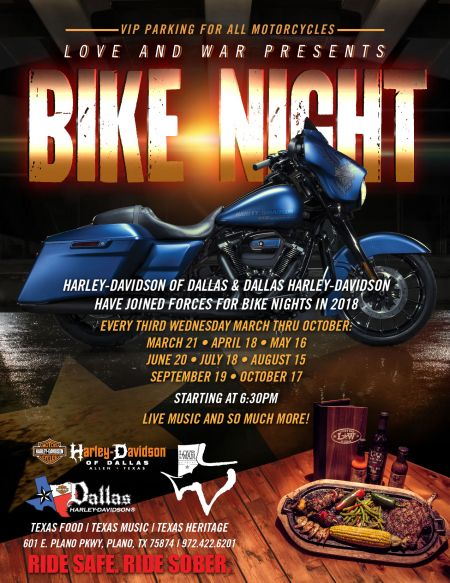 2018 Bike Night at  Love & War in Texas