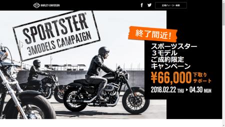 スポーツスターご成約66,000円サポートキャンペーン!!