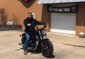 Bryce and his new Sportster forty-eight!