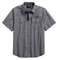 Men's Vintage Logo Textured Button Short Sleeve Shirt