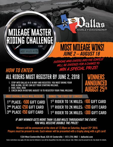 2nd Annual Mileage Master Riding Challenge