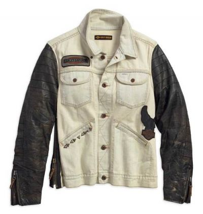 Jacket-1903, Leather Sleeve, Denim