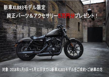 5万円分純正パーツ&アクセサリープレゼント!【新車XL883ご成約特典】